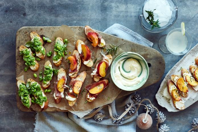 bring a plate- pea & feta bruschetta